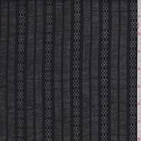 *3 5/8 YD PC--Black Leno Stripe Shirting