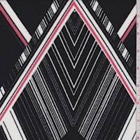 *2 YD PC--Black/White/Salmon Art Deco Crepe Liverpool Knit