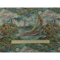 *1 1/8 YD PC--Multi Sailing Men Landscape Tapestry Decorating Fabric