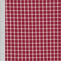 *2 YD PC--Red/Cream White Cotton Plaid Woven Home Decorating Fabric