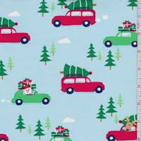"Pale Blue ""Holiday Shopping"" Print Cotton"