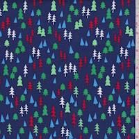 Deep Blue Mini Tree Print Cotton