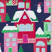 "Navy ""Home for the Holidays"" Print Cotton"