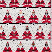 "White ""Three Wise Santas"" Print Cotton"