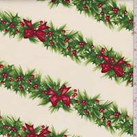 "Pale Cream ""Holly Day Garland"" Print Cotton"
