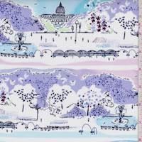 "White/Lilac/Blue ""Scenic View"" Print Cotton"