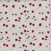 "Pale Tan ""Strawberry Delight"" Print Cotton"
