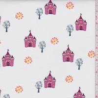 "White/Hot Pink ""Castle View"" Print Cotton"