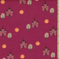 """Deep Pink """"Castle View"""" Print Cotton"""