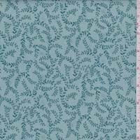 Mineral Blue Scroll Vine Print Cotton