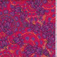 Berry/Lilac Stylized Floral Print Cotton