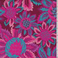 Wine/Turquoise Stylized Bloom Print Cotton