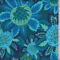 Forest/Cobalt Stylized Bloom Print Cotton