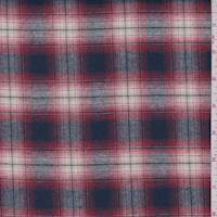*3 1/2 YD PC--Navy/Red Shadow Plaid Flannel