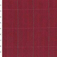 *3 5/8 YD PC--Red/Black/Navy Wool Blend Herringbone Grid Jacketing