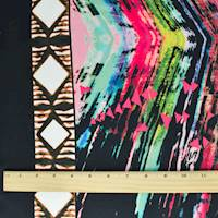 *3 YD PC--Black/Green/Multi Abstract Tribal Print Crepe Faille