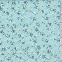 "Pale Turquoise ""Glitter Daisy"" Print Cotton"
