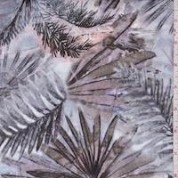"Blue/Brown ""Island Leaves"" Print Cotton"