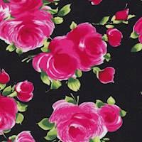 "Black/Pink ""Valentina"" Rose Print Cotton"
