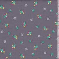 "Stone Grey Floral ""Carolina"" Print Cotton"