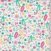 "White ""Cattail Meadow"" Print Cotton"