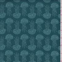 "Teal Green ""Jellyfish Dance"" Print Cotton"