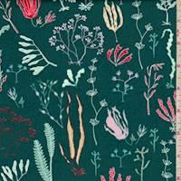 """Teal Green """"Hidden Garden"""" Print Cotton"""