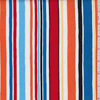 White/Red/Orange Multi Stripe Print Cotton