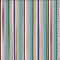 Tan/Spa Blue Multi Stripe Print Cotton
