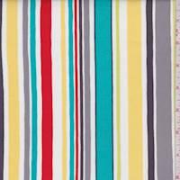 Aqua/Yellow Multi Stripe Print Cotton