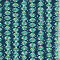 "Dark Teal ""Kaleidoscope"" Print Cotton"