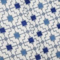 *1 1/2 YD PC--Blue/Multi Indoor/Outdoor Tile Jacquard Decor Fabric