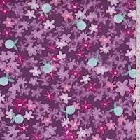 """Dark Mauve """"Sunlit Blooms"""" Print Cotton"""