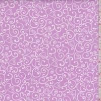 "Orchid Purple ""Heart Swirl"" Print Cotton"