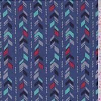 *1 1/4 YD PC--Medium Blue Arrow Stripe Crepe de Chine