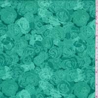 Teal Green Rose Print Cotton