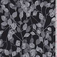 Black/Grey Botanical Vine Print Cotton