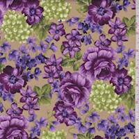 Antique Gold Violette Print Cotton