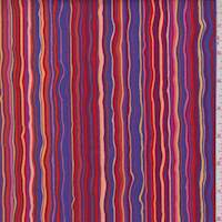 Red/Purple Rhapsody Stripe Print Cotton