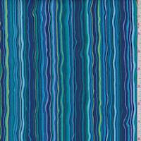Navy/Turquoise Rhapsody Stripe Print Cotton