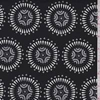 Black Medallion Print Cotton