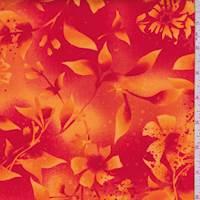 Orange/Red Botanical Print Cotton