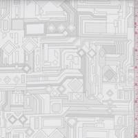 White/Sterling Grey Circuits Print Cotton