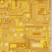 Yellow/Gold Circuits Print Cotton
