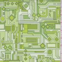 Pale Green/Avocado Circuits Print Cotton