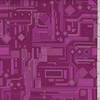 Fuchsia/Berry Circuits Print Cotton