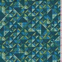 Teal/Jade Mosaic Tile Print Cotton