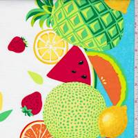 "Turquoise ""Sew Fruity"" Double Border Print Cotton"