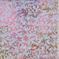 Pale Blue/Blush Floral Vine Cotton Batik