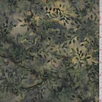 Olive/Forest Floral Vine Cotton Batik